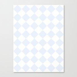 Large Diamonds - White and Pastel Blue Canvas Print