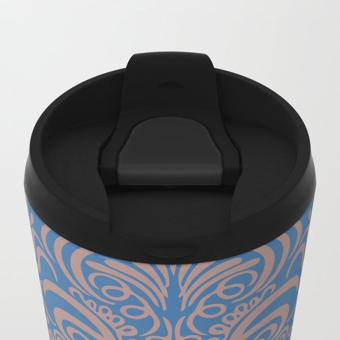 Vintage Ornaments Blue Metal Travel Mug