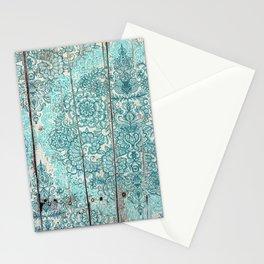 Teal & Aqua Botanical Doodle on Weathered Wood Stationery Cards