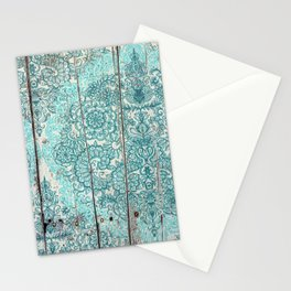 Teal & Aqua Botanical Doodle on Weathered Wood Stationery Cards