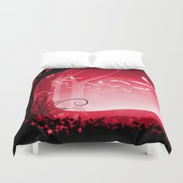 Dark Forest at Dawn in Ruby Duvet Cover