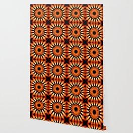 Orange & Black Pinwheel Flowers Wallpaper