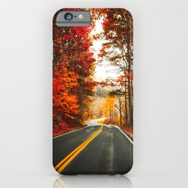 autumnal road in vermont iPhone Case