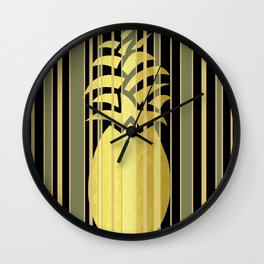 Pineapple And Stripes Wall Clock