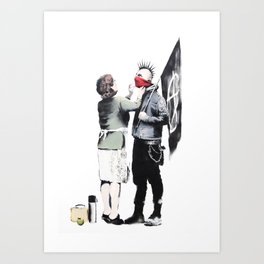 Banksy, Punk with mother Art Print