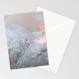 Bokeh Lights on Mountains Stationery Cards