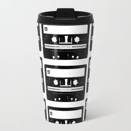 Cassette Tape Pattern Black Travel Mug