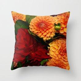 Autumn Dahlias Throw Pillow