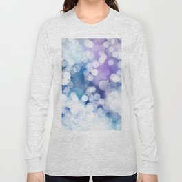 Abstract Blue Christmas Bokeh Snowflakes Pattern Long Sleeve T-shirt