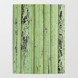 Rustic mint green grunge wood panels Poster