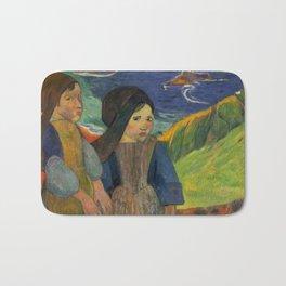 Two Breton Girls by the Sea by Paul Gauguin Bath Mat