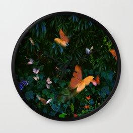 Elegant, Colorful Fantasy Butterflies in Flight Wall Clock