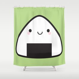 Kawaii Onigiri Rice Ball Shower Curtain
