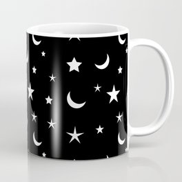 Black and White moon and star pattern Coffee Mug
