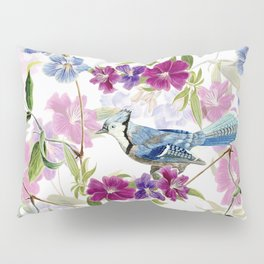 Vintage & Shabby Chic - Blue Jay and Flowers Garden Pillow Sham