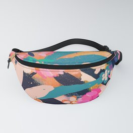 Pink Orange florals with Blue leaves Fanny Pack