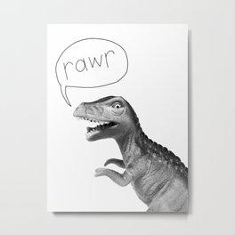 t rex dinosaur with rawr Metal Print