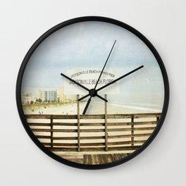 Jacksonville Beach Pier Sign Wall Clock