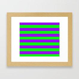 Green and Purple Stripes Framed Art Print