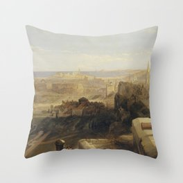 David Roberts - Edinburgh from the Castle Throw Pillow