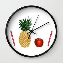 Pen Pineapple Apple Pen - PPAP - Homage - Funny - 57 Montgomery Ave Wall Clock