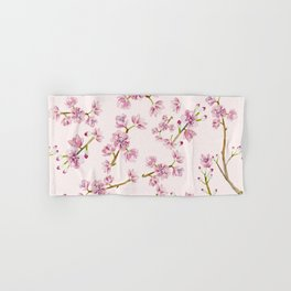 Spring Flowers - Pink Cherry Blossom Pattern Hand & Bath Towel