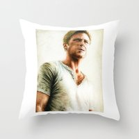 ryan gosling Throw Pillows featuring Ryan Gosling - Drive by Hilary Rodzik