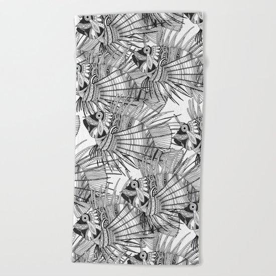 fish mirage black white Beach Towel