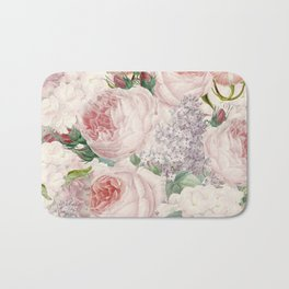 Vintage Roses and Lilacs Pattern - Smelling Dreams Bath Mat