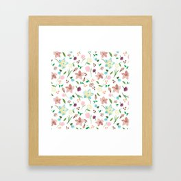 Tropical pastel themed pattern Framed Art Print