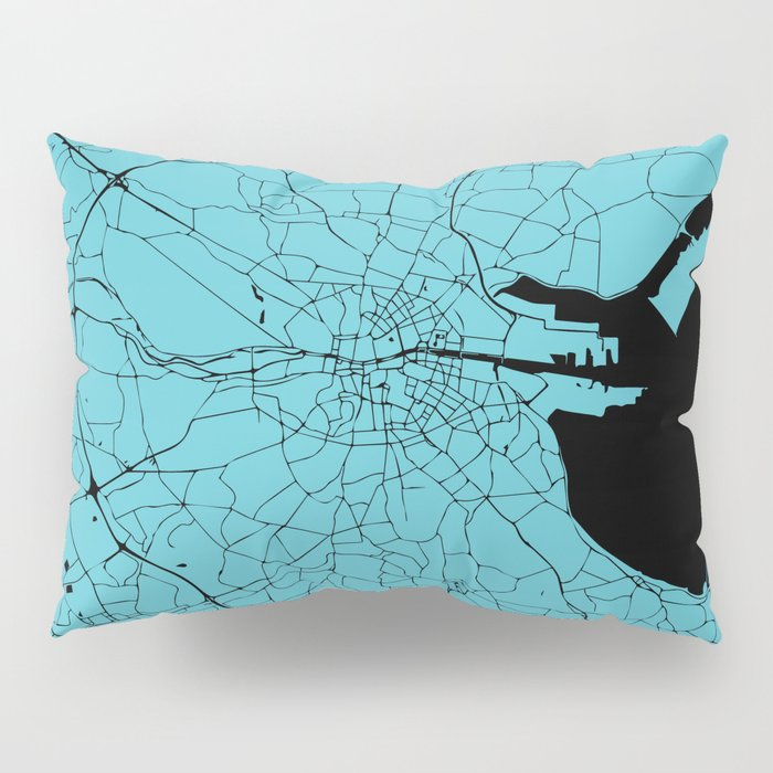 Dublin Ireland Turquoise on Black Street Map Pillow Sham