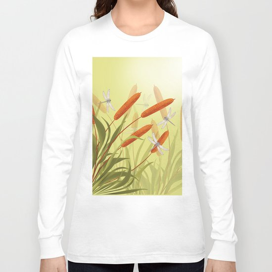 the reeds and dragonflies on the rising sun background Long Sleeve T-shirt