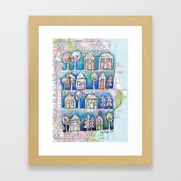 Ombre Shorewood, WI (Milwaukee) Neighborhood Continuous Line Drawing on vintage map Framed Art Print