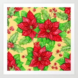 Poinsettia and holly berry watercolor Christmas pattern Art Print