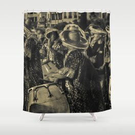 Group of Candombe Drummers at Carnival Parade of Uruguay Shower Curtain