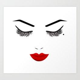 Eye Mole Beauty Face with Red Lips Art Print