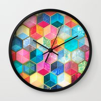 bohemian Wall Clocks featuring Crystal Bohemian Honeycomb Cubes - colorful hexagon pattern  by micklyn