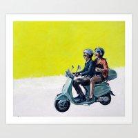 motorbike Art Prints featuring Motorbike by Sasha Robinson
