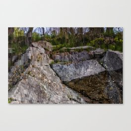 Granite reflection on a quarry in Rockport Canvas Print