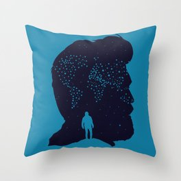 Stars Wolrd Map - Man Silhoette Throw Pillow