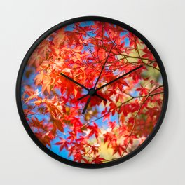 Autumn foliage at Kinkaku-ji Zen Garden in Kyoto. Wall Clock