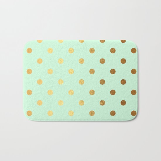 Gold polka dots on mint backround - Luxury greenery pantone pattern Bath Mat