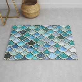 Multicolor Aqua Mermaid Scales - Beautiful Abstract Glitter Pattern Rug