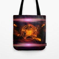 pentagram Tote Bags featuring Pentagram  by nicky2342