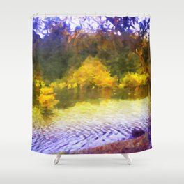 Colorful Lake Painting Shower Curtain