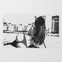 At the beach - sexy girl, black and white, hot rear, booty view, perfect fit and curvy body shapes, Rug