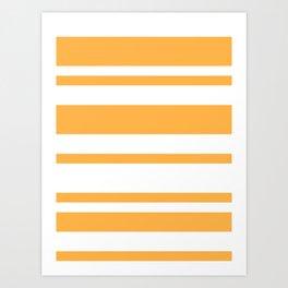Mixed Horizontal Stripes - White and Pastel Orange Art Print