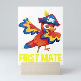 First Mate Dabbing Parrot Pirate Theme Kids Birthday Boy Mini Art Print