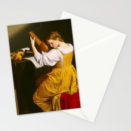 Girl playing the lute Stationery Cards