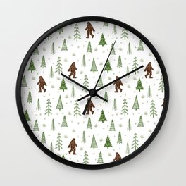 trees + yeti pattern in color Wall Clock